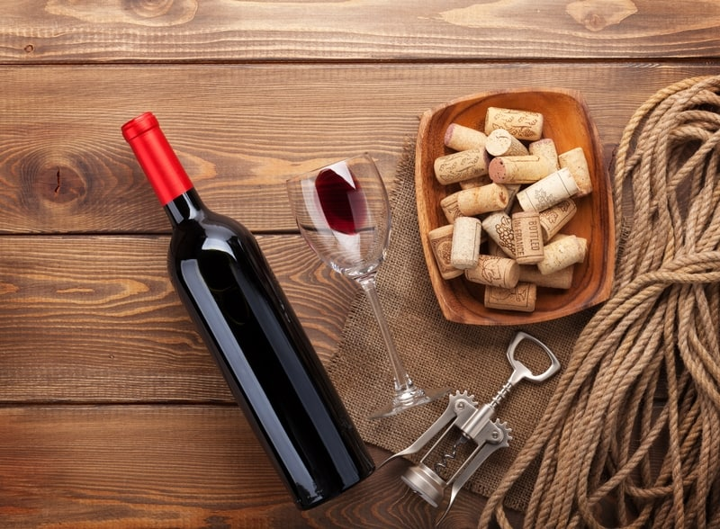 Red Wine Bottle with Corks