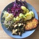 Tofu, champignons, pommes de terre et crudités #vegan