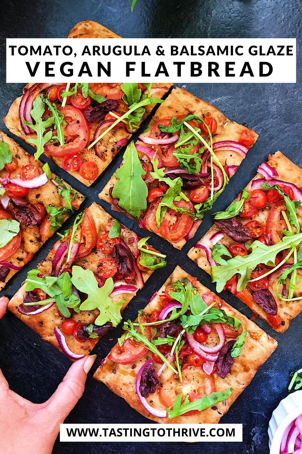 Tomato, Arugula and Balsamic Vegan Pizza Flatbread