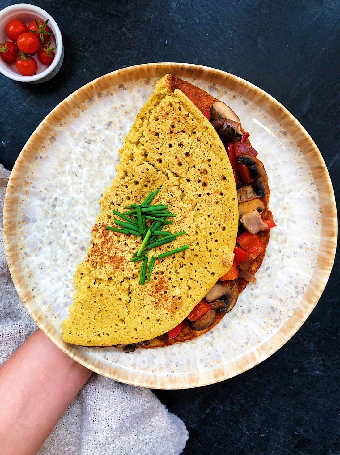 Vegan egg chickpea omelette
