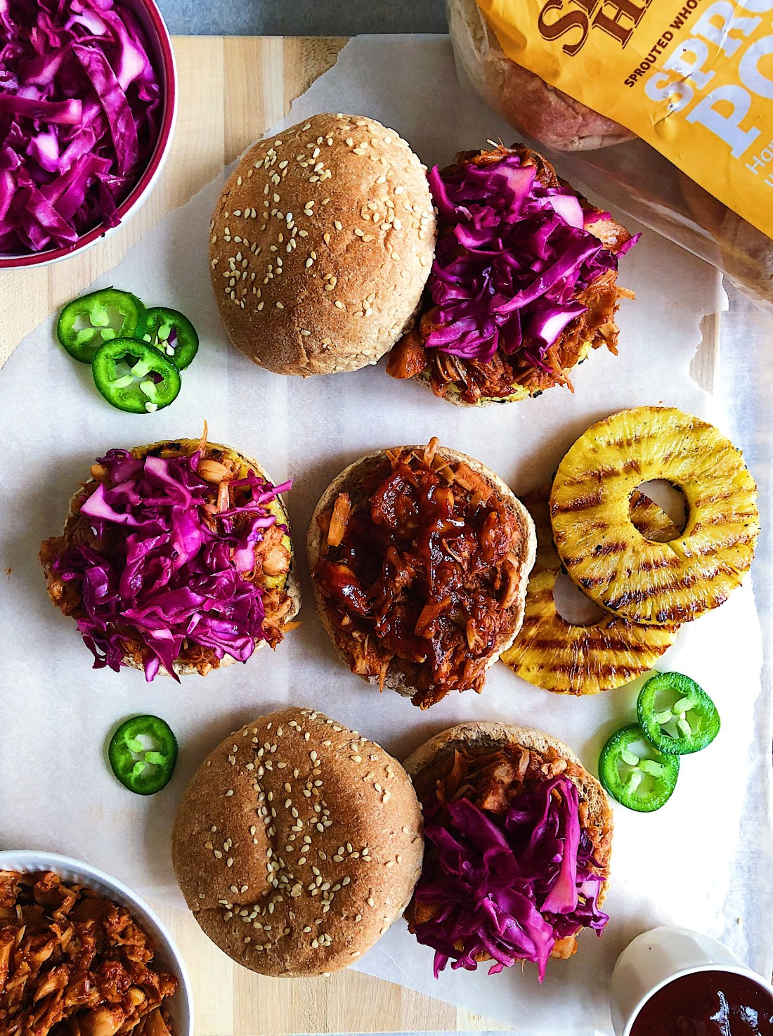BBQ JACKFRUIT SANDWICH WITH GRILLED PINEAPPLE AND CABBAGE SLAW