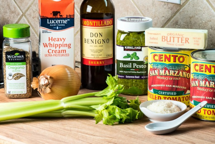 Ingredients for Creamy Tomato Basil Soup with Parmesan