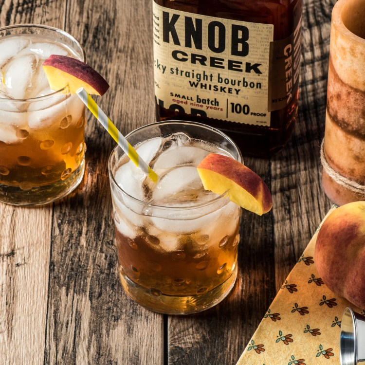 Over head view of Keto Bourbon Peach Cocktail