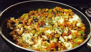 IMG_4505-300x170 Green peppers with Gram Flour/Capsicum Besan Sabzi /Capsicum Zunka