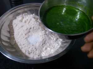 KVCT2512-300x223 Indian Spinach Flat Bread Stuffed with Cottage Cheese/Palak Paneer Paratha