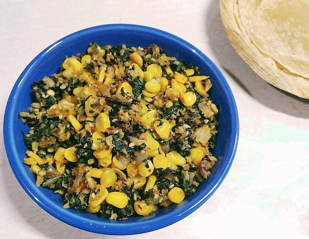 IZRO6922-1024x793 Spinach and Corn Stir fry/ Sweet Corn and Palak Sabzi