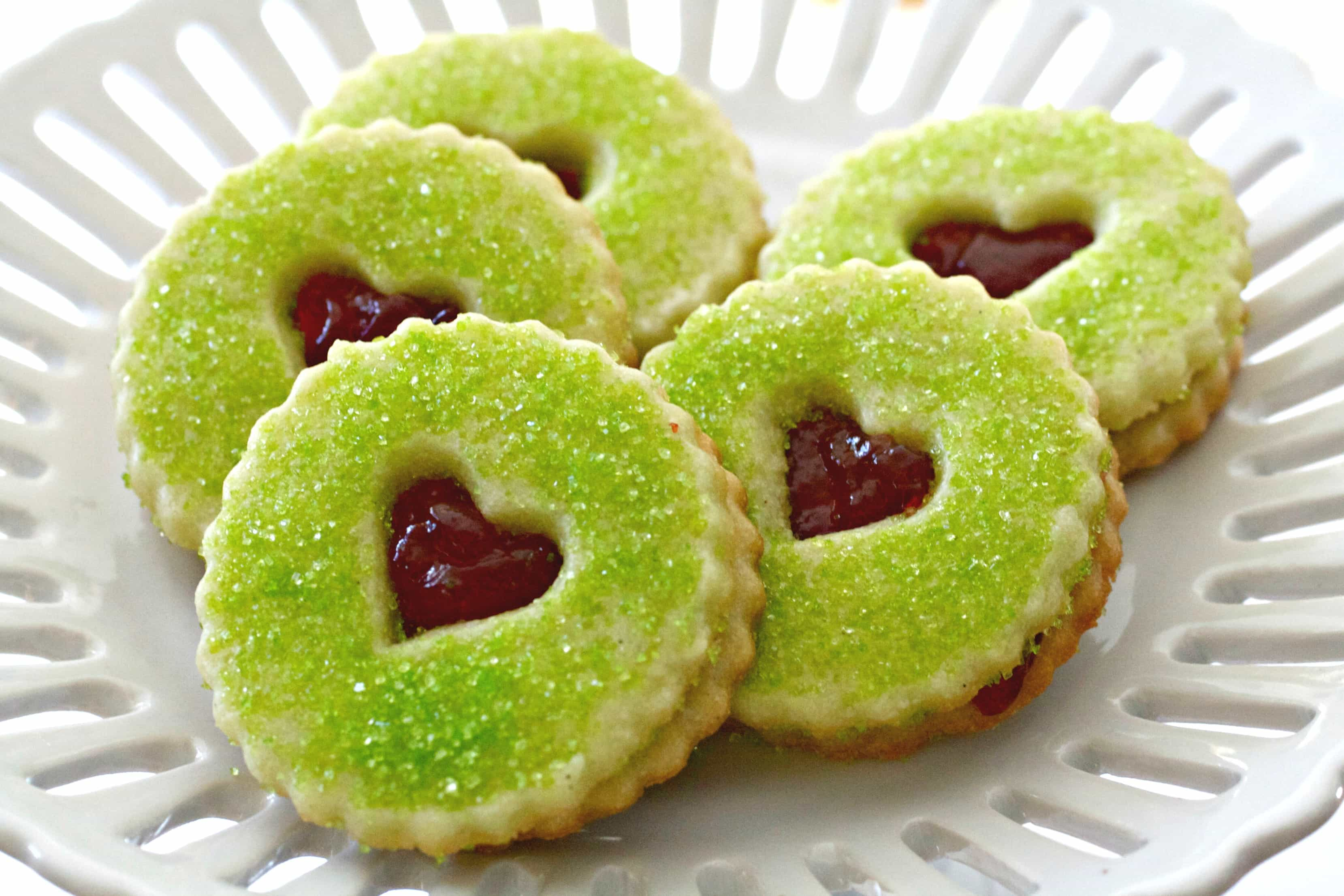 Grinch Heart Raspberry Filled Sugar Cookies Recipe Tasty