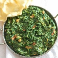 Easy Indian Creamed Spinach Vegetarian Recipe
