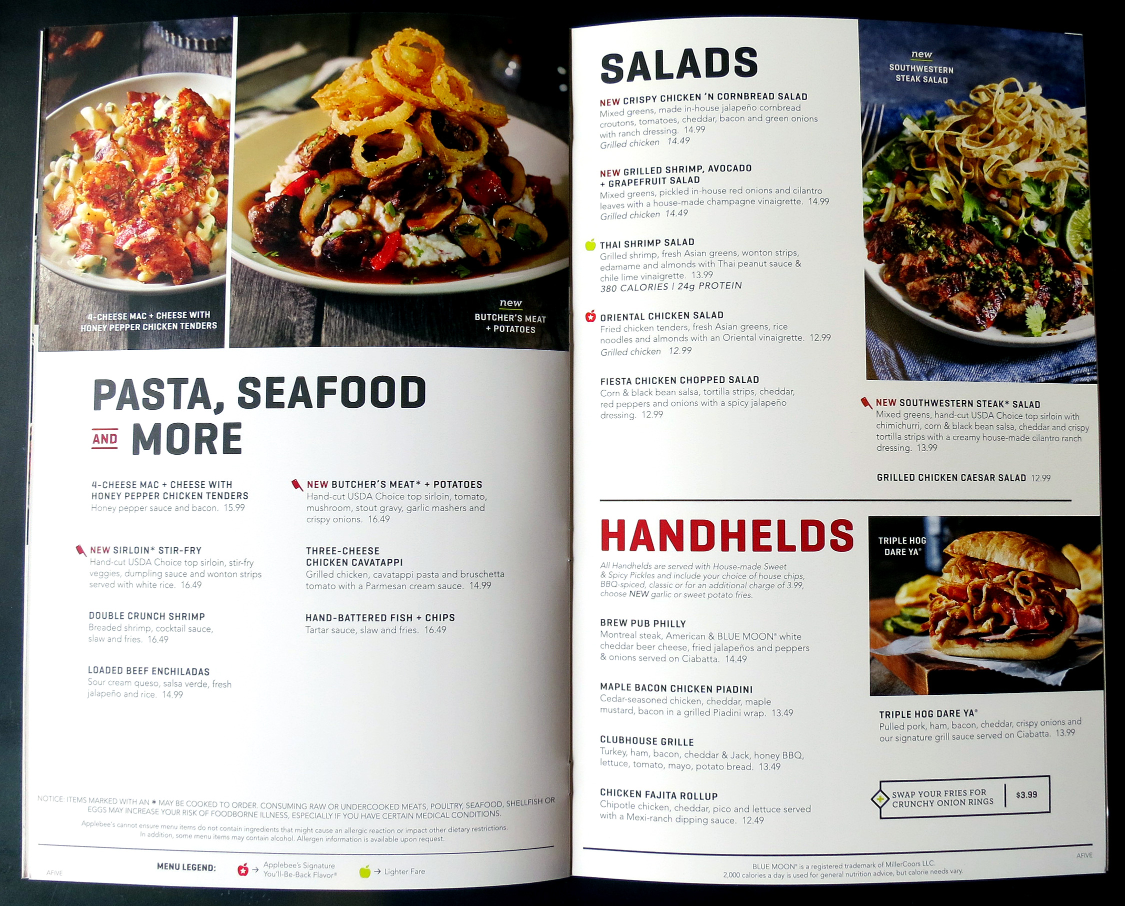 photo regarding Applebees Printable Menus titled Applebees Mild Menu