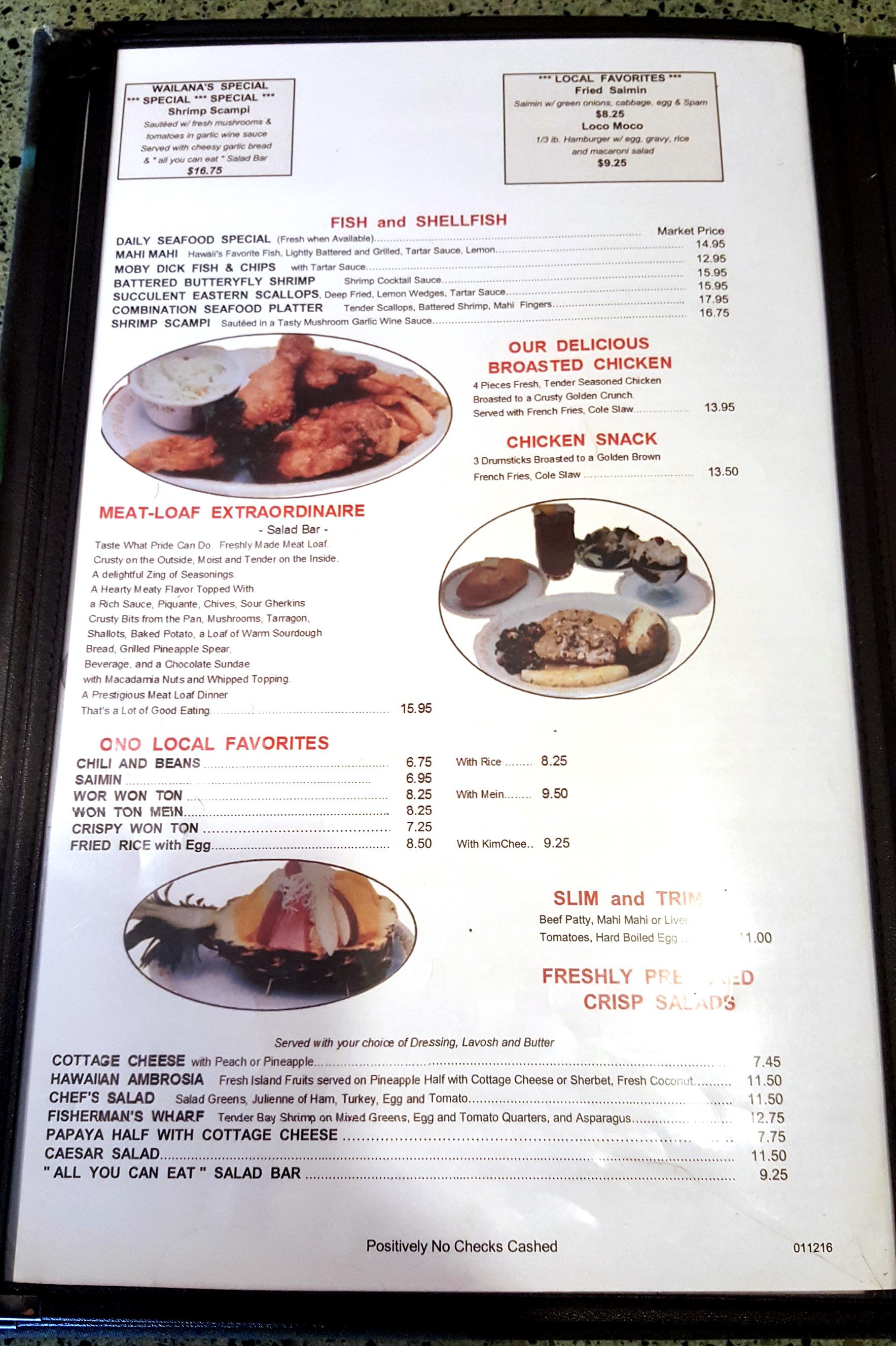 Sam S Kitchen Waikiki Menu