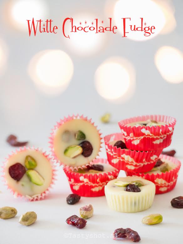 Witte chocolade fudge In plaats van een witte kerst