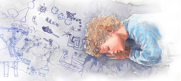 Chłopiec śpi i widać jego sen w postaci rysunków dziecka