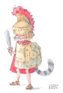 Chłopiec w zbroi rzymskiego legionisty ma ogon i wąsy kotka.