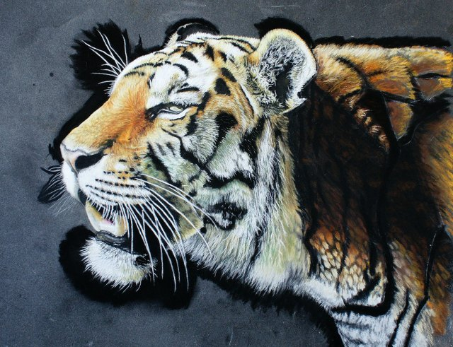 tiger painting with contrast added