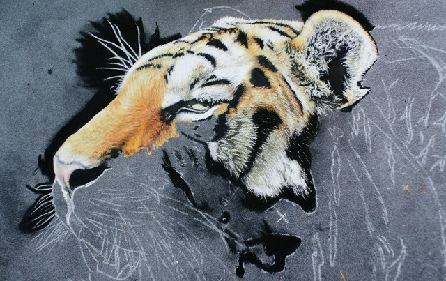 tiger painting with nose