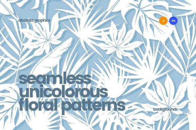 Unicolorous Seamless Floral Patterns