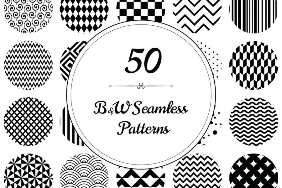 50 Geometric B&W Seamless Patterns