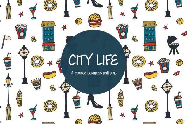 City Life Free Vector Pattern