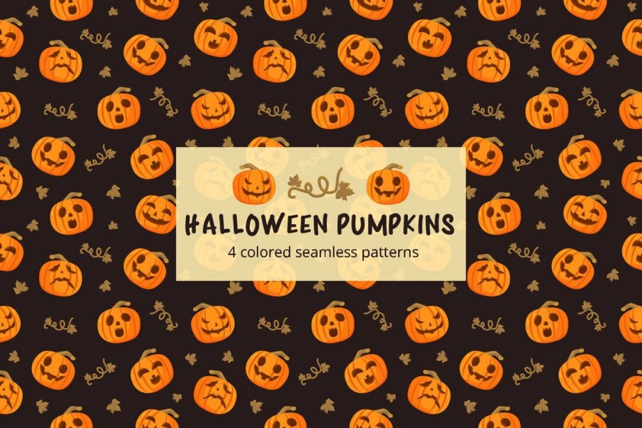 Halloween Pumpkins Seamless Free Pattern