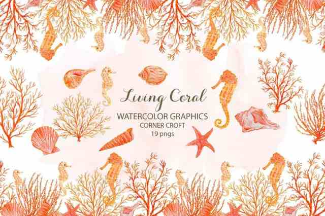 Watercolor Clipart Living Coral Patterns