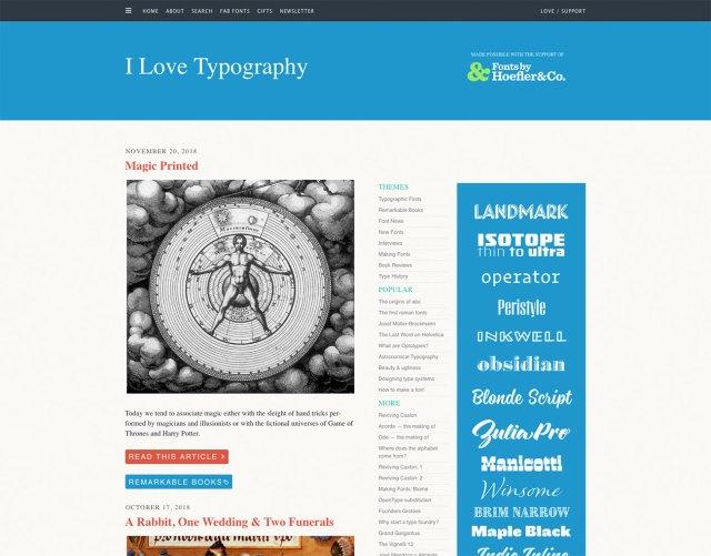 Top typography resources: I Love Typography