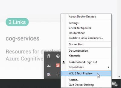 The WSL2 Tech Preview Option in the Docker Daemon context menu