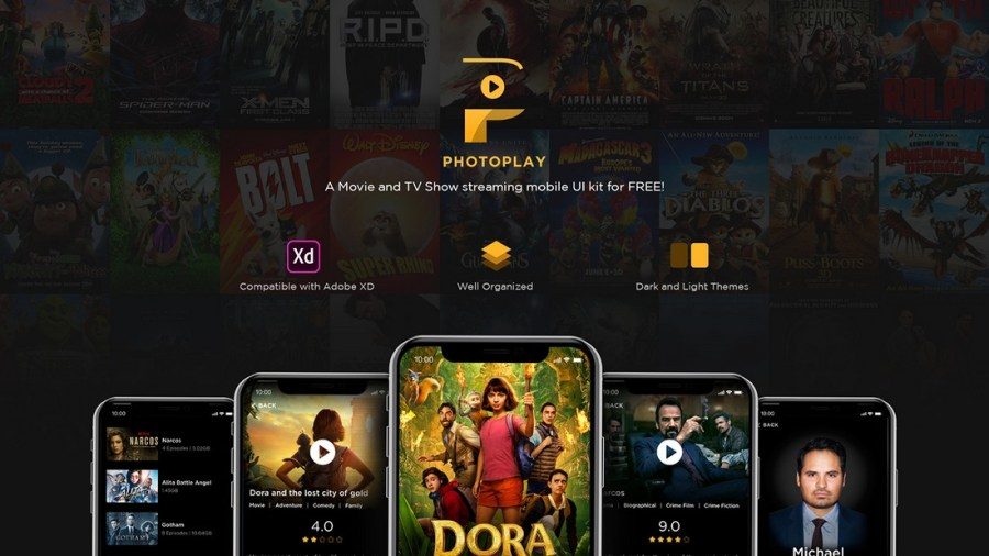 Free Photo Play UI Kit for Adobe XD