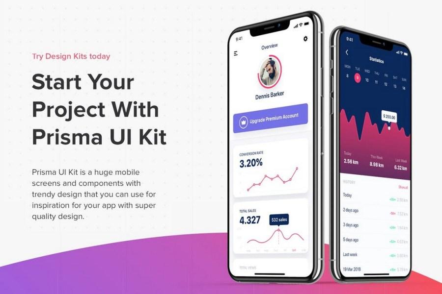 Prisma UI Kit - Adobe XD Mobile Screens