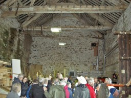 Barn interior, once three storeys, many rooms, fireplaces, chapel...