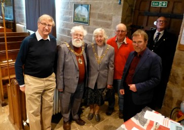 Colin Burford (Friends of St James the Less), Mayor and mayoress Roger and Joyce Mace, Andrew Taylor and Mike Winstanley (Tatham History Society). Photo by John Parkinson