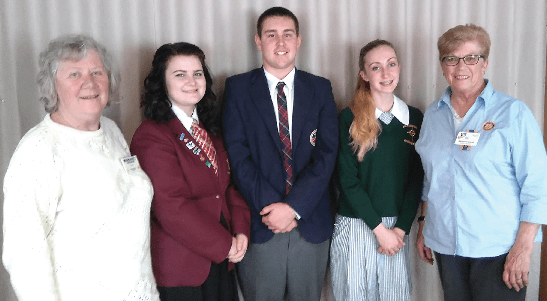 Rotarian Margaret Isselmann, Dakota Armitstead-Hanson,  Batlow Technology School,  Maximus Lans, Nowra Anglican College Berry, Rylie Marks, St Patricks Parish School Cooma  and District Governor Nominee Margaret Hass, Cooma.
