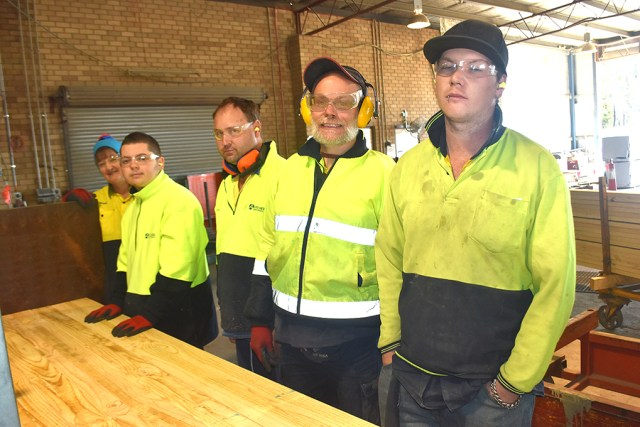Valmar Pinecom facility employees Ang McNamara, Garry Clarke, Kristen Hayes, John Richmond, and Alex Humble are among so many people to benefit from the organisation over the past 50 years.