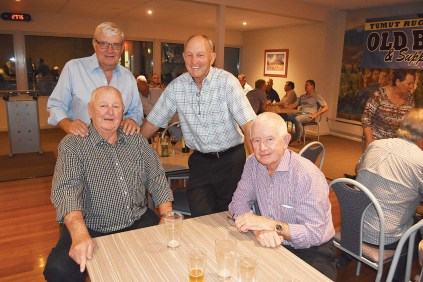 Tony Barton, Geoff McIntyre, Ron Sutton and Jim Sewell at last Friday night's Tumut Rugby League Old Boys reunion.