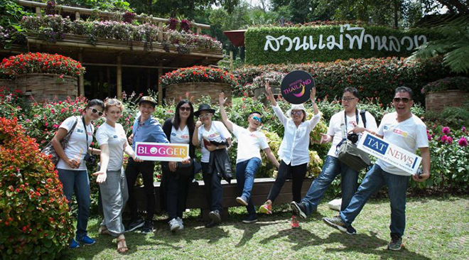 Genevieve Pendragon and fellow bloggers at Mae Fah Luang Garden