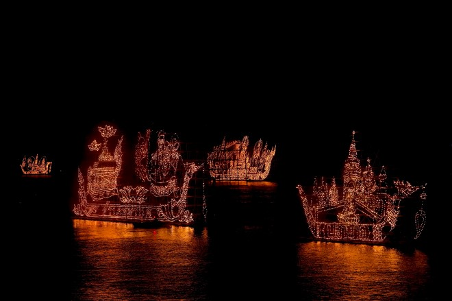 illuminated boat procession