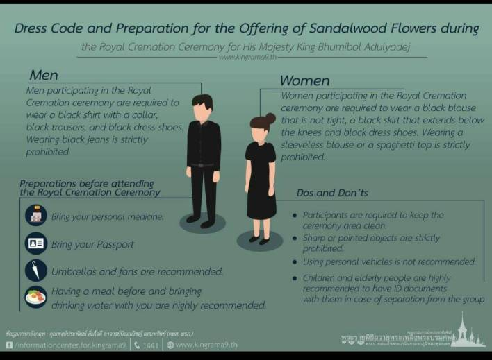 Dress code during Royal Cremation Ceremony