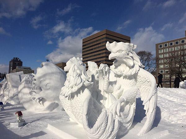 Kai Chon ice sculpture won International Snow Sculpture Contest in Japan
