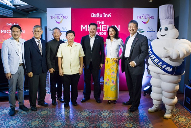 Senior Thai officials and Michelin executives at the press conference to announce Michelin Guide Bangkok, Phuket and Phang Nga 2019
