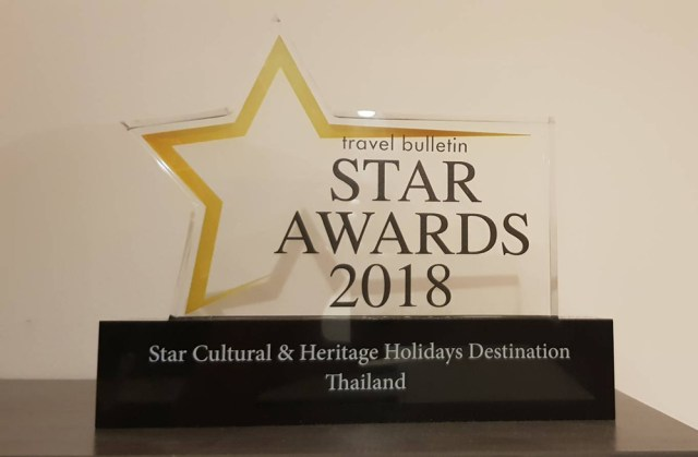 Travel Bulletin Star Awards 2018 - Thailand Star Cultural and Heritage Holidays Destination