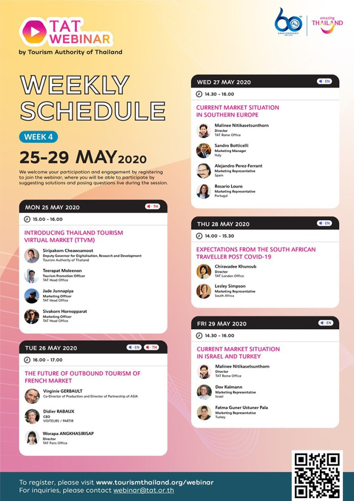 , What's on TAT Webinar's fourth weekly schedule, during 25-29 May 2020, For Immediate Release | Official News Wire for the Travel Industry, For Immediate Release | Official News Wire for the Travel Industry
