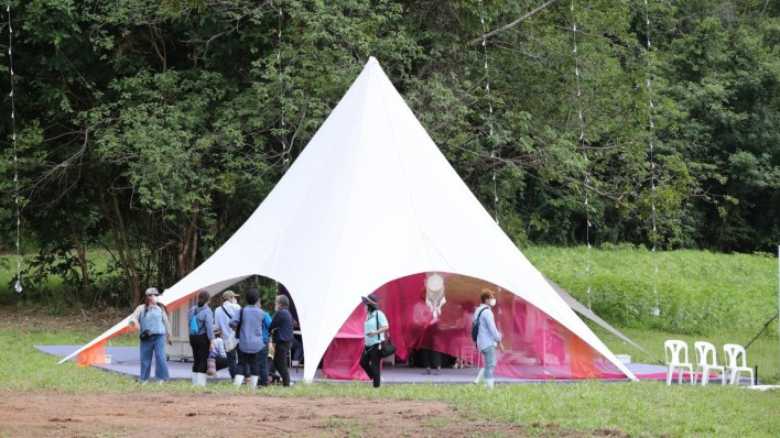 camping at fresh forest atmosphere
