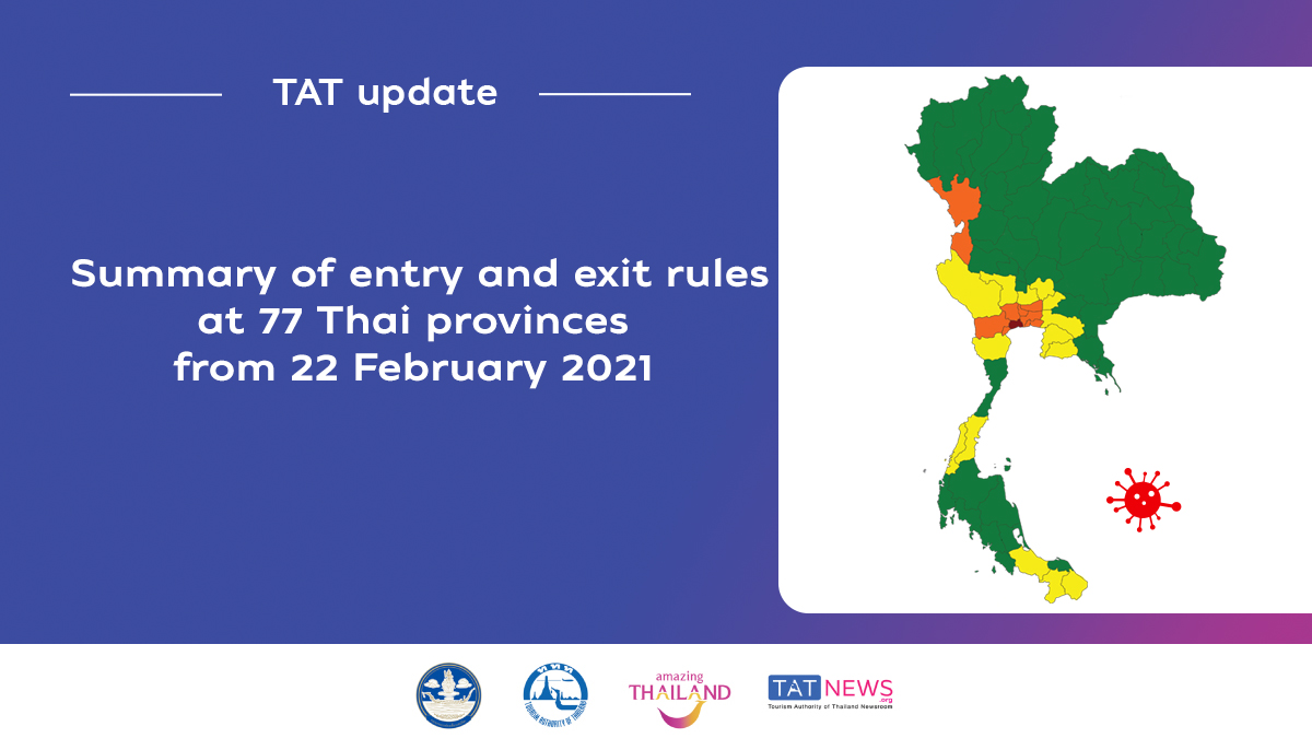 Provincial entry and exit rules as Thailand further eases COVID-19 control measures from 22 February 2021