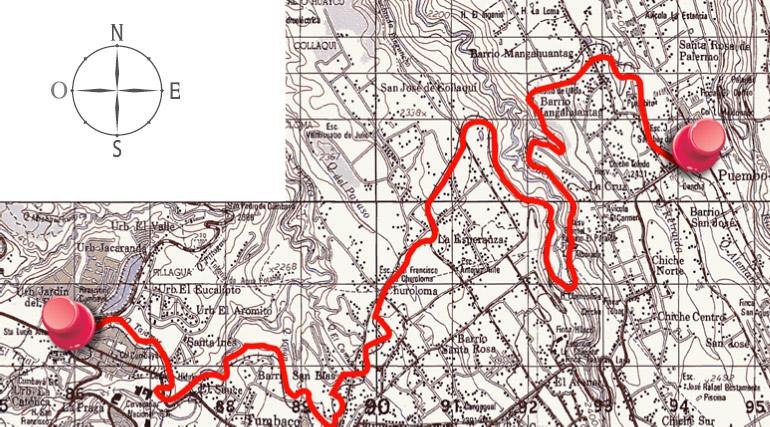 Mapa igm de la ruta de ciclismo Cumbayá - Puembo (Chaquiñan)