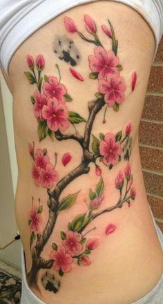 Tatouage Branches Arbre Japonais Fleurs De Cerisier Flanc Femme Tatouage Femme