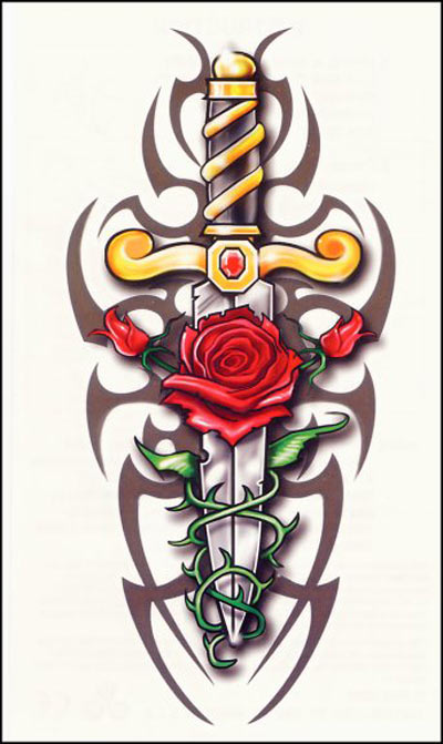 This rose tattoo design is an alternative for those regular cross rose
