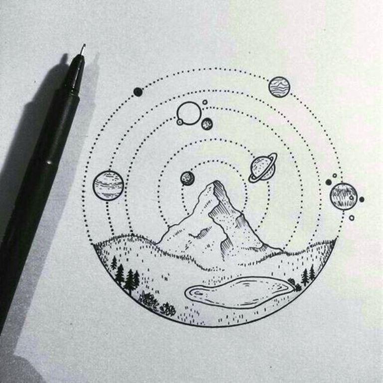 TattooMix Dövmecim gezegen uzay dövmeleri (1)