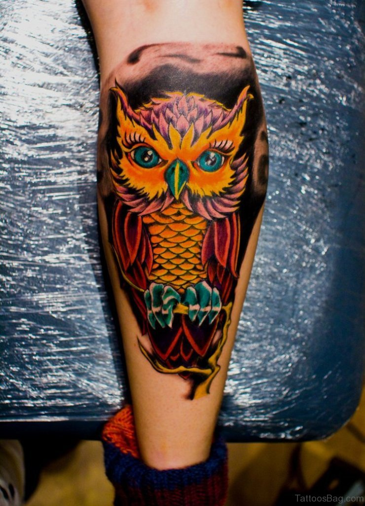 And Black Owl Tattoos Red