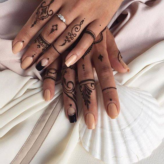 Ethnic tattoo on fingers