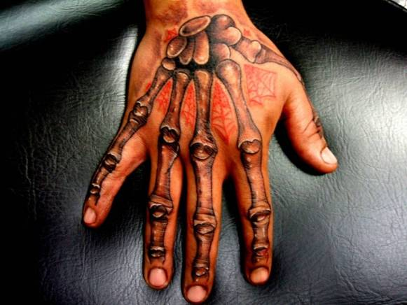 Tattoo on the phalanges of the man - skeleton