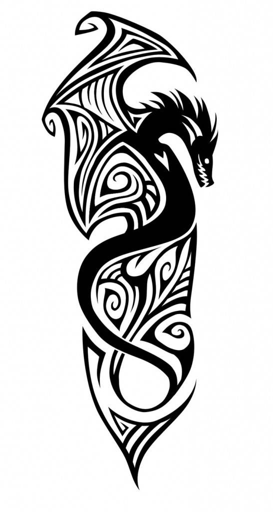 Sketch of tattoo - tribal dragon